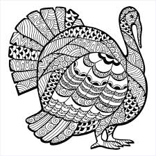Turkey Zentangle Coloring Sheet Thanksgiving Adult Coloring Pages