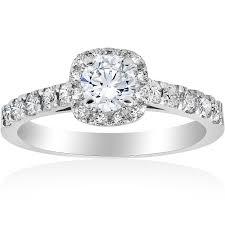 1ct cushion halo diamond engagement ring 14k white gold amazon com