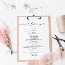 Another Word For Itinerary Is Welcome Itinerary Wedding Guest Welcome Letter Template