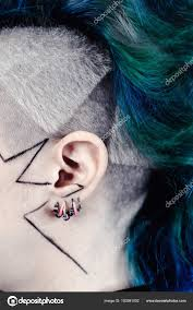Stunning Colorful Hairstyle Short Hair Side Ear Stock Photo