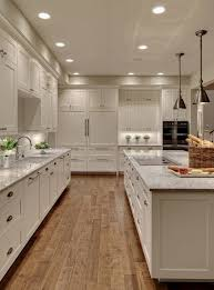 recessed lighting in kitchens ideas. Modern Kitchen Ideas White Shaker Style Cabinets Granite Countertops Hardwood Flooring Recessed Lighting In Kitchens N