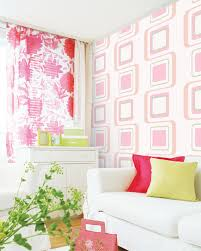 pink square pattern wallpaper creates sweet home easily