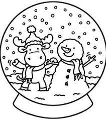 Sneeuwbol Kerst Kleurplaat Coloring Christmas Zima Christmas