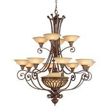 elstead stirling castle 12 light chandelier bronze