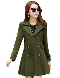 tanming women s double ted wool blend long pea coat army green rn14978 comfortable design