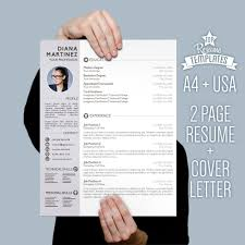 Resume Template Desing Cover Letter 2 Page Cv A4 Usa Letter