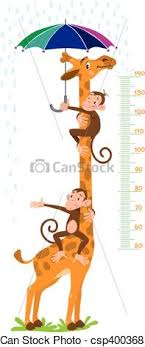 Giraffe And Monkeys Meter Wall Or Height Chart