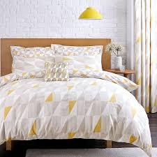 skandi geometric yellow duvet cover set  dunelm  home