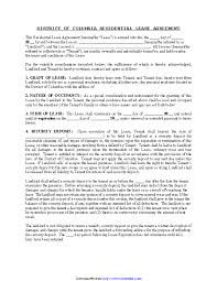 Residential Lease Contract District Of Columbia Residential Lease Agreement Form