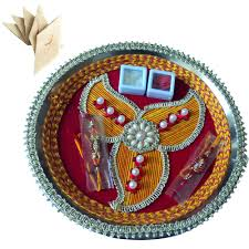 Rakhi Thali Design Steel Pooja Accessories Multi Colored Floral Decorated Design Pooja Thali Designer Rakhi