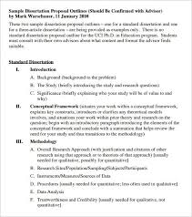 dissertation outline template sample example format   dissertation proposal outline template pdf format