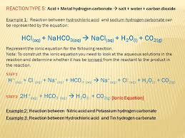 chemical equation for sodium hydrogen carbonate and hydrochloric