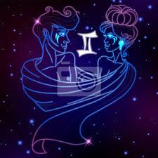 Plakát Gemini Znamení Zvěrokruhu Horoskop Symbol Vektorové Ilustrace