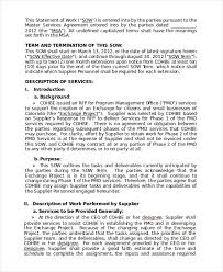 Statement Of Work Template 13 Free Pdf Word Excel