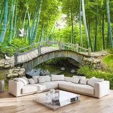 Kleine Brücken Benutzerdefinierte Fototapete 3d Bambus Wald Landschaftsmalerei Wanddekoration Wohnzimmer Schlafzimmer Tapete Wandbild 3d
