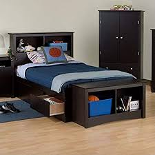Prepac Sonoma Black Twin XL Bookcase Platform Storage Bed