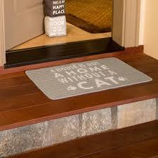 open door decor a house is not a home without a cat light gray decorative door mat 28 x 18