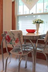 very cool idea for fixing upholstery on those awesome 50 s chrome chairs fabric with vinyl covering sold at walmart