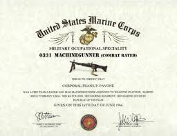 Usmc 0331 Mos 0331 Usmc Machinegunner Certificate