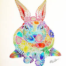 Rainbow Rabbit From The Millie Marotta Animal Kingdom Colouring Book
