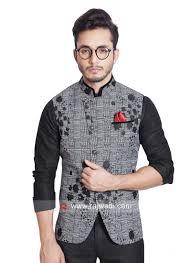 Mens Koti Design Dark Grey Color Koti With Stylish Buttons Rajwadi