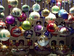 A rainbow collection of blown glass ornaments lights up the square ...