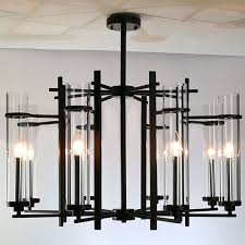 modern clear glass s and black metal chandelier 9171