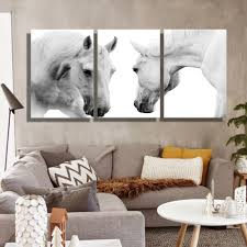 Wall Art Decor For Living Room Oil Painting Canvas The White Horses Wall Art Decoration Painting