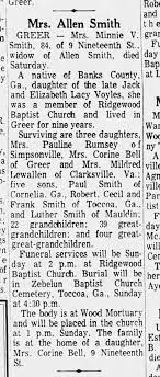 Obituary of Minnie V Smith, mother of Corine Smith - Newspapers.com