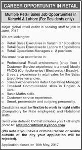 Sales Executive Operation Manager Jobs In Karachi 2017