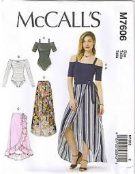 Bodysuit Sewing Pattern Delectable Off Shoulder Leotard Bodysuit Wrap Skirt McCalls Sewing Pattern L XL