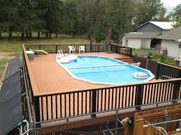Above Ground Swimming Pools With Decks Square Amazing Swimming Pool