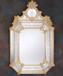 venetian wall mirror framed in hand etched glass with gold accents genuine venetian glass