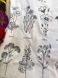 Vintage Flora Botanical Reference Flower T Shirt Design