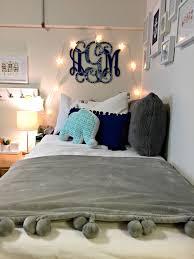 pretty college dorm decor - gray, white and navy