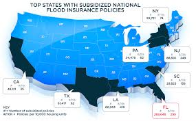 map subsidized national flood insurance policies