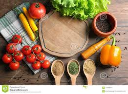 Wooden Board With Vegetables On Kitchen Table Stock Image Image Of