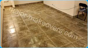 18 by 18 porcelain tile on basement floor with matching custom cut baseboard tile