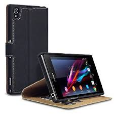 Amazon.com: Sony Xperia Z1 Low Profile Faux Leather Wallet Case ...