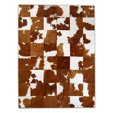 brown and white rug. Patchwork Cowhide Rug K-154 Brown-white. Leather Carpet Brown And White