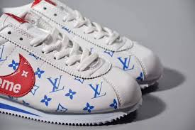 nike cortez nylon x sup x lv combination leather men s women s shockproof sports shoes white blue red