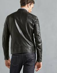 men s v racer café racer jacket in black men s leather jackets belstaff