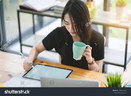 Graphic Designer Adalah Young Asian Graphic Designer Working On Stock Photo Edit