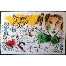 marc chagall original lithograph title the green horse 1973 dimensions 33 x 50 cm