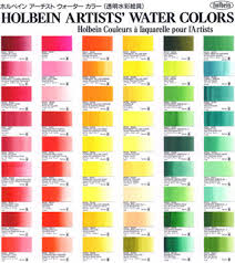 Holbein Artists Watercolur Paint Hand Painted Color Chart