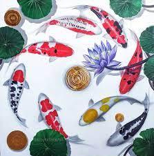 koi fish wall art asian paintings