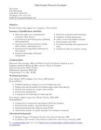 Analyst Interesting Data Analyst Resume Example For Employment Featuring Summary Of Qualifications An Skills Also Working Experience Png