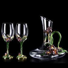 <b>Enamel</b> irises <b>lead free</b> crystal <b>glass red</b> wine glass wakeup set ...