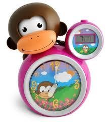 babyzoo kids momo monkey sleep trainer clock pink