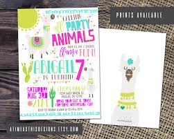 Party On Designs Etsy Llama Birthday Party Invitation Party Animals Invite